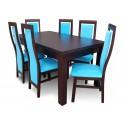 RMZ19G Nowoczesny zestaw stół i krzesła Venge i Blue Fabric