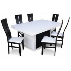 RMZ1S045 Komplet Black&White nowoczesny stół i designerskie krzesła