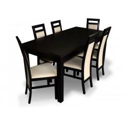 RMZ-PROMO3 Zestaw promocyjnych mebli do salonu 6 krzeseł i laminowany stół 80x160+40 Wenge